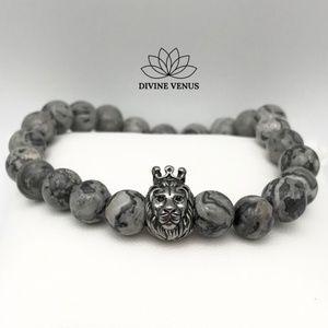 Picasso Jasper Stone Lion Charm Stretch Bracelet